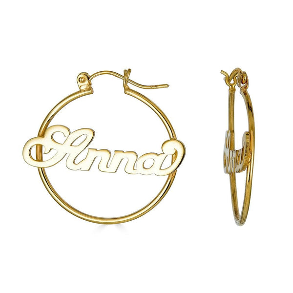 Ari&Lia Hoop Earrings Gold Plated Script Hoop Name Earrings NE90602-GPSS