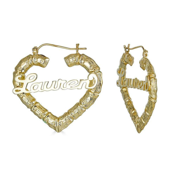 Ari&Lia Hoop Earrings Heart Shape Bamboo Name Earrings