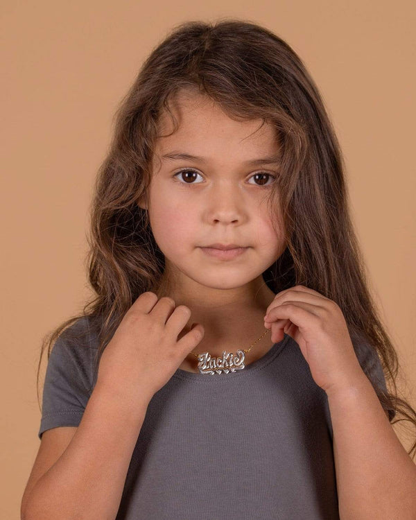 Ari&Lia Kids Name Necklace Double Plate Kids Name Necklace With Curb Chain