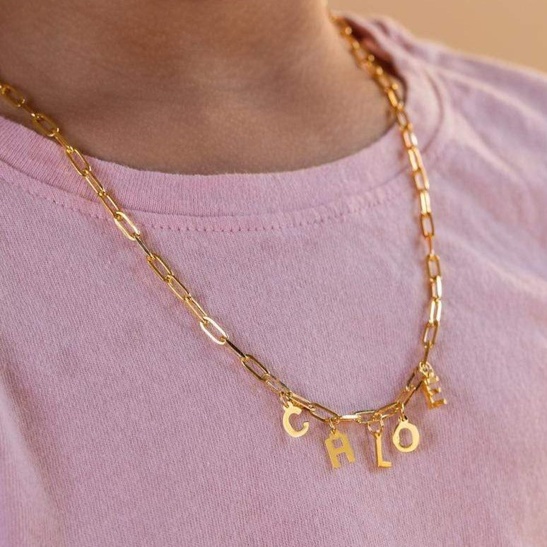 Ari&Lia Kids Name Necklace Kids Paper Clip Necklace with Block Letters