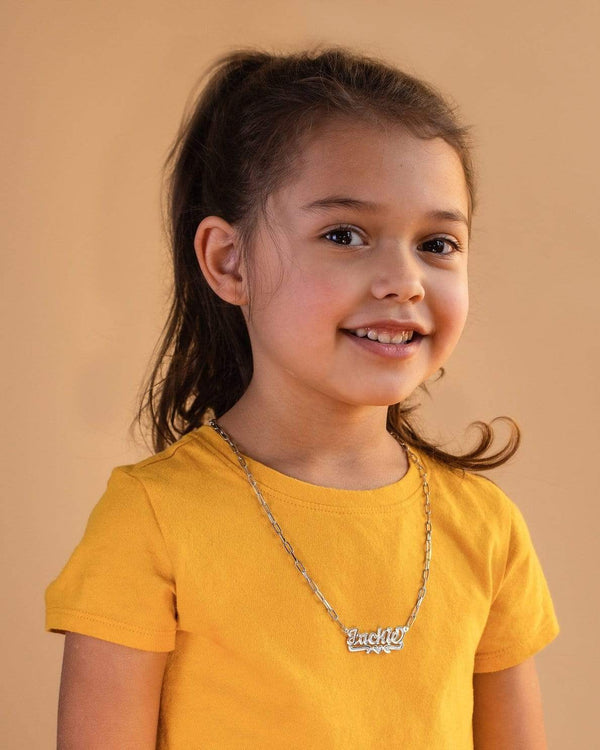 Ari&Lia Kids Name Necklace Paper Clip Kids Single Name Necklace With Diamond Accent.