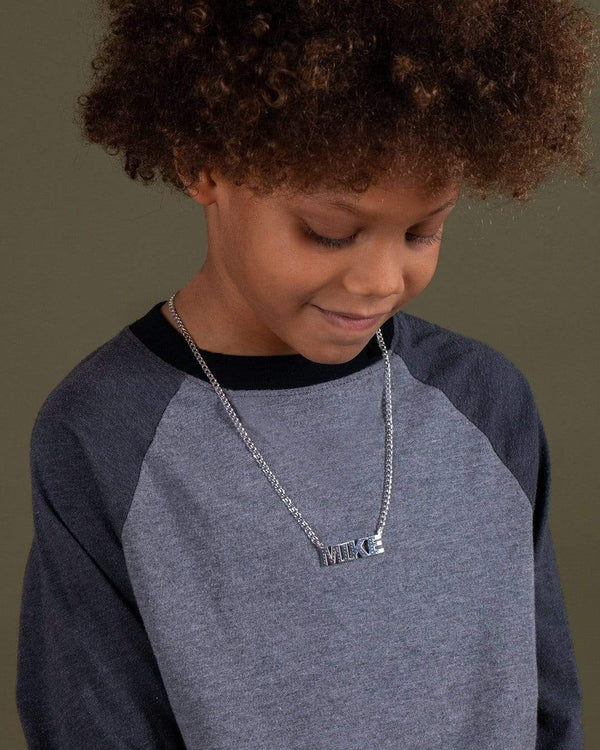 Ari&Lia KIDS Single Plated Block Kids Name Necklace With Curb Chain.
