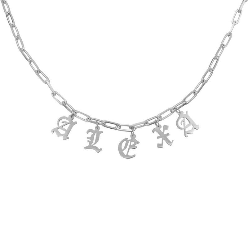 Ari&Lia Name Necklace Paperclip Necklace with Gothic initials