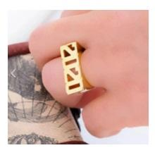 Ari&Lia Rings Block All Capital Name Ring