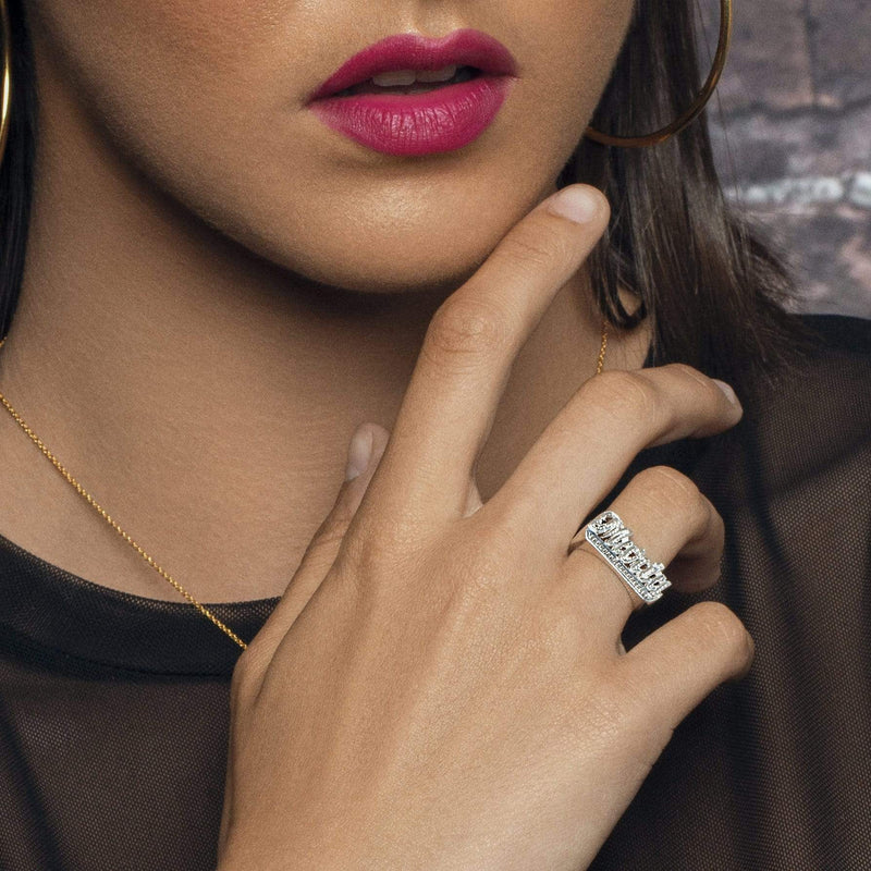 Ari&Lia Rings Script Name Ring with Diamond Accent