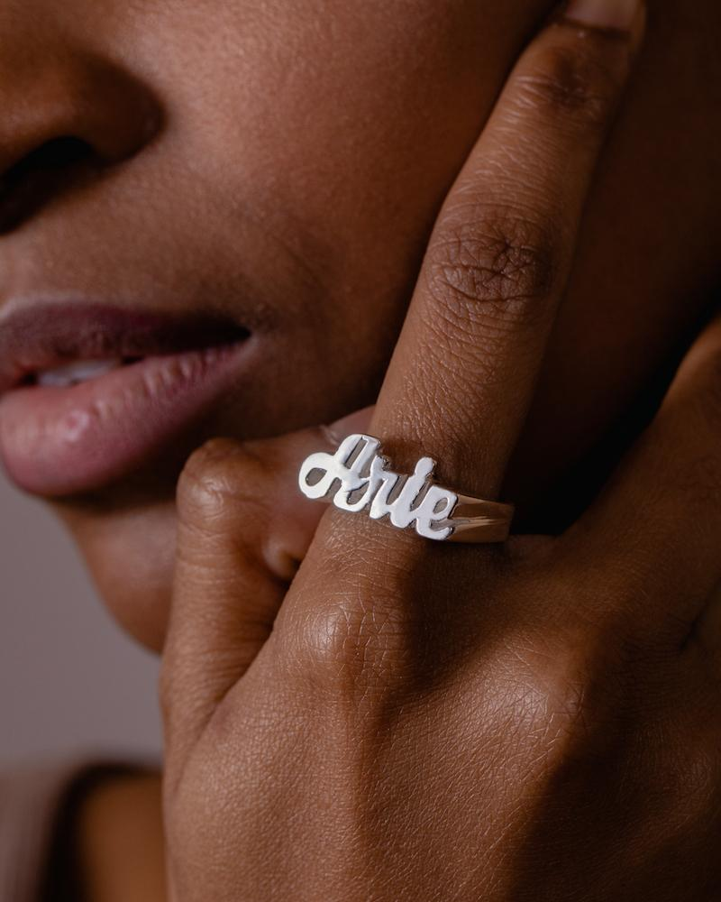 Ari&Lia Rings Womens Block Name Ring