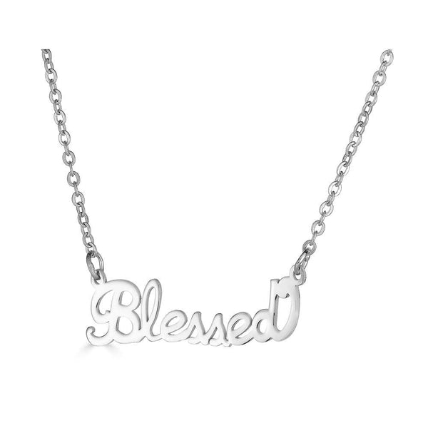 Ari&Lia Empowered Name Necklaces Silver Plated Blessed Empowered Name Necklace NP90580-BLESSED-SS