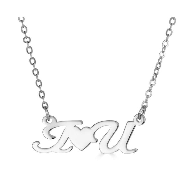 Ari&Lia Empowered Name Necklaces Silver Plated I ❤️ U Empowered Name Necklace NP90580-IHRTU-SS