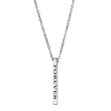 Ari&Lia Empowered Vertical Bars Silver Plated Forever Empowered Vertical Bar NP-LONGBAR-FOREVER-SS
