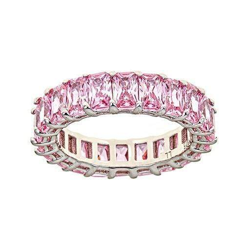 Ari&Lia Rings Silver Plated Pink Sapphire Eternity Ring eternity ring Pink