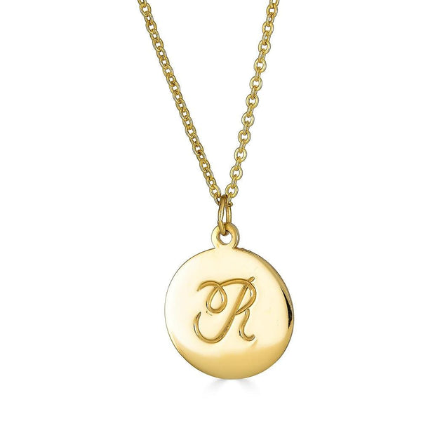 Ari&Lia Single Single Initial Necklace With Script Hand Engraving
