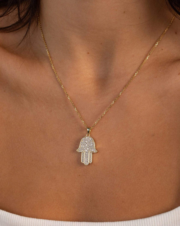 Ari&Lia Single & Trendy Hamsa Pendant With Cubic Zirconia