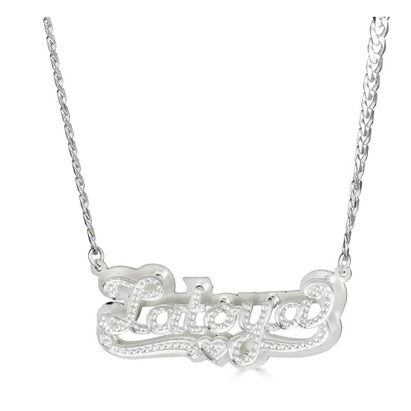 Ari&Lia CURB CHAINS Sterling silver Diamond Accent Double Plated Name Necklace With Curb Chain NPGF101-Curb-SS