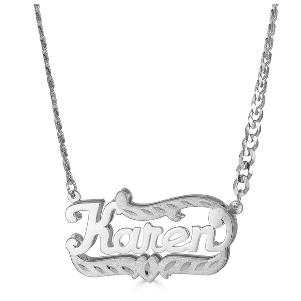 Ari&Lia CURB CHAINS Sterling silver Diamond Cut Double Plated Name Necklace With Curb Chain NP90588-Curb-SS