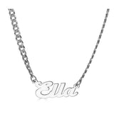 Ari&Lia CURB CHAINS Sterling Silver Single High Polish Script Name Necklace With Curb Chain NP30541-Curb-SS