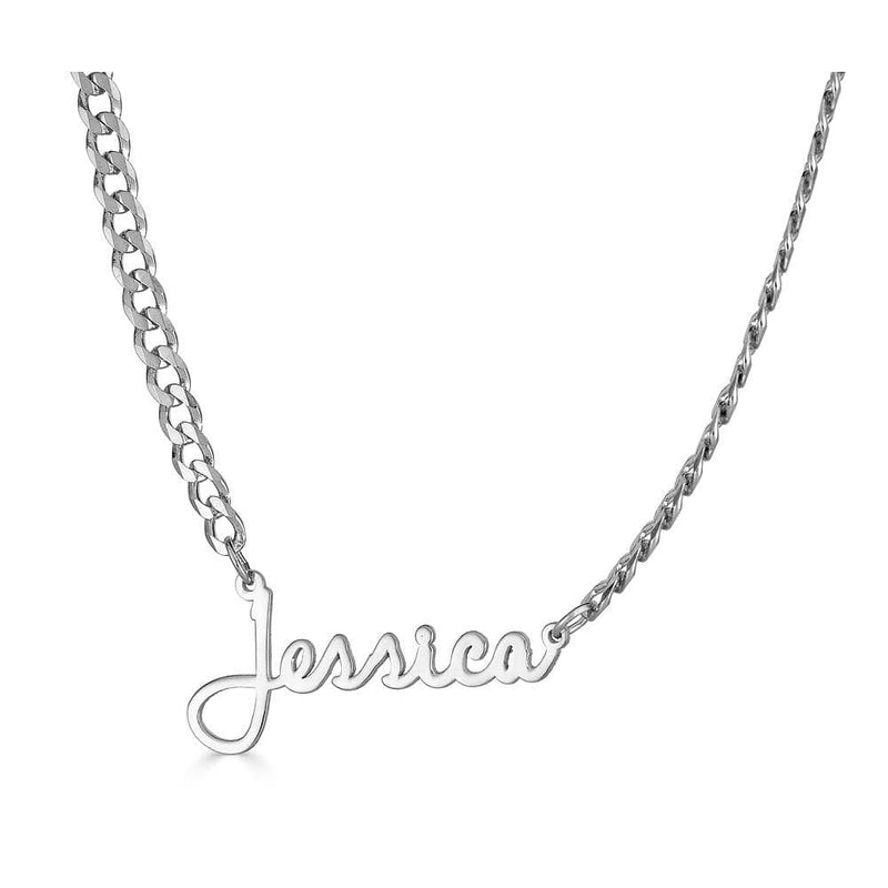 Ari&Lia CURB CHAINS Sterling Silver Single High Polish Script Name Necklace With Curb Chain NP30543-Curb-SS