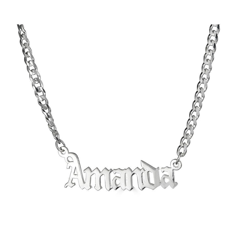Ari&Lia CURB CHAINS Sterling Silver Single Plate High Polish Gothic Name Necklace With Curb Chain NP30578-Curb-SS