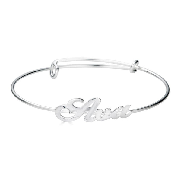 Ari&Lia Delicate Sterling Silver Adjustable Name Bangle NB91688-BRS-SS
