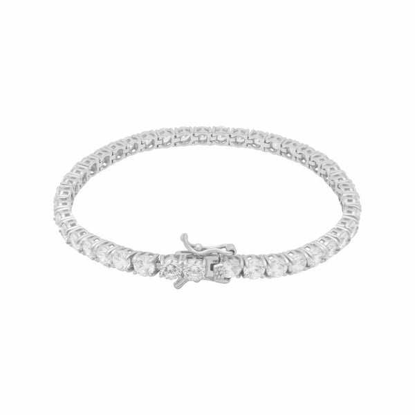 Ari&Lia Delicate Bracelets Sterling Silver Curb Bracelet with CZ Bar