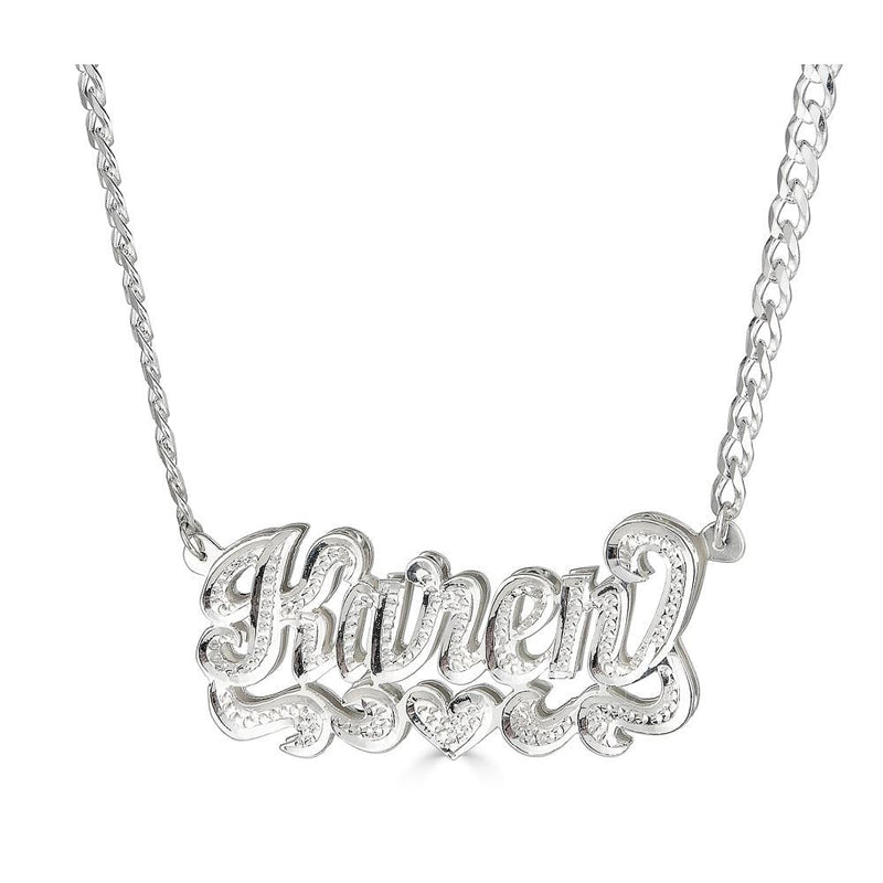 Ari&Lia Double Plated Necklaces Sterling Silver Diamond Accent Double Name Necklace With Curb Chain 08Q4031-CURB-SS