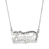 Ari&Lia Double Plated Necklaces Sterling silver Diamond Cut Double Plated Name Necklace NP80047-SS
