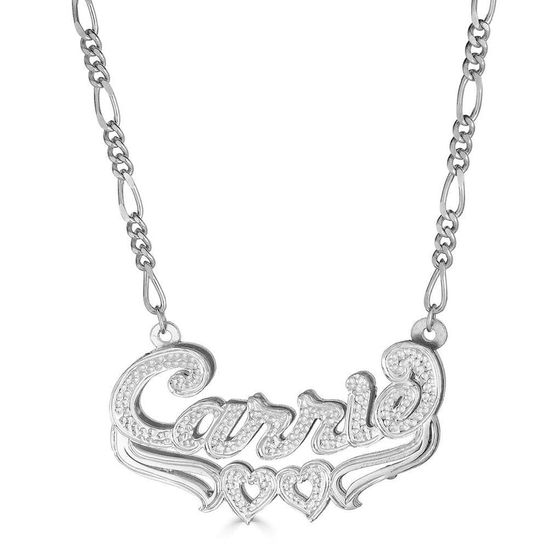 Ari&Lia Double Plated Necklaces Sterling Silver Kylie Style Double Plated Heart Name Necklace NP30526-SS
