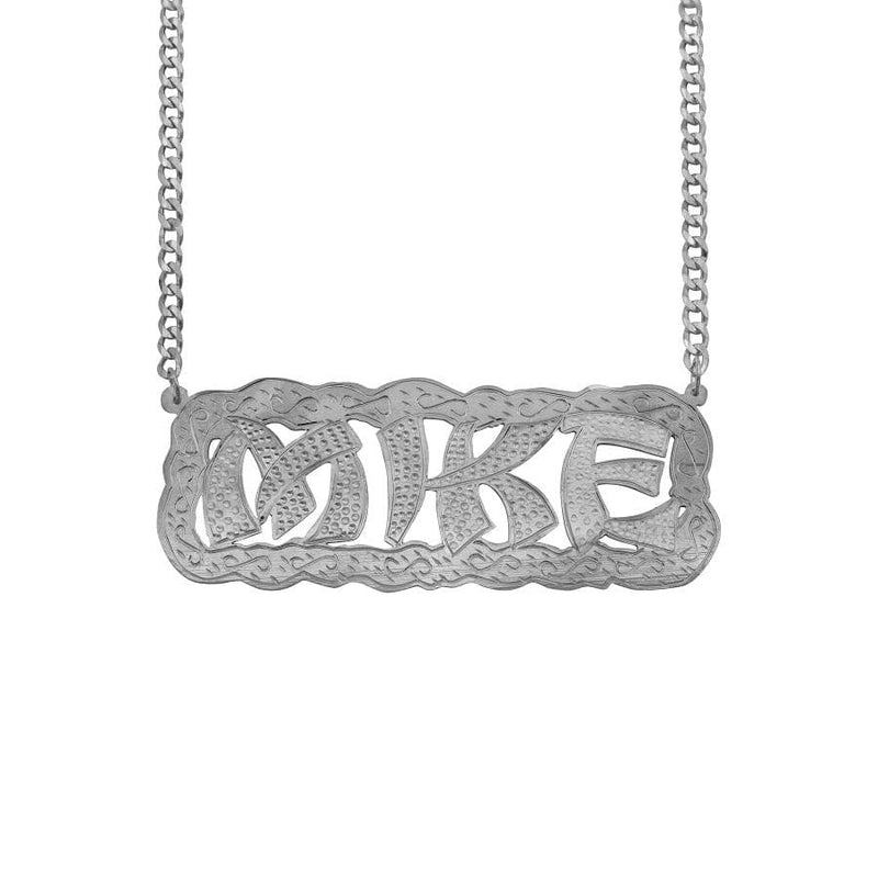 Ari&Lia MENS Sterling Silver Men's Funky Double Name Necklace with Curb Chain