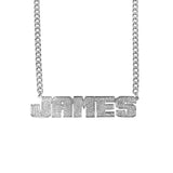 Ari&Lia MENS Sterling Silver Men's Single Plated Name Necklace With Curb Chain 897-CURB-SS