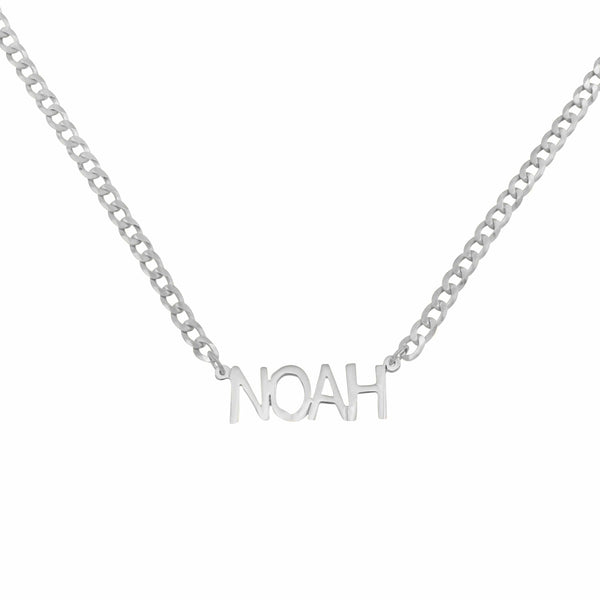 Ari&Lia MENS Sterling Silver Single Block Name Necklace with Curb Chain