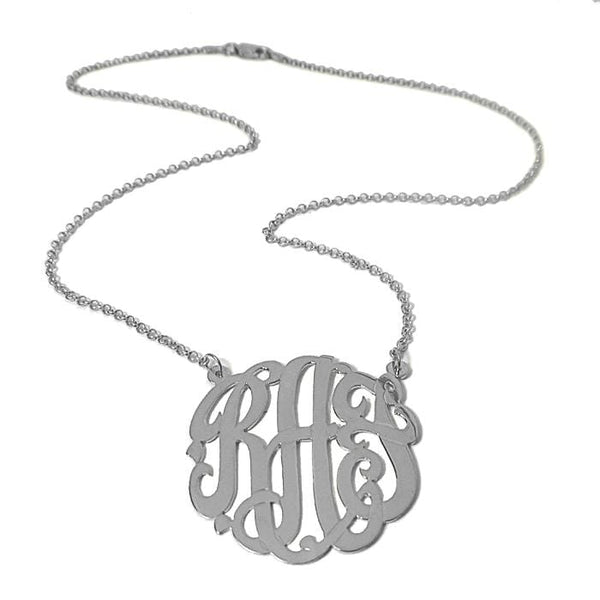 "Ari&Lia Monogram & Trendy Sterling Silver 1.25"" Three Letter Script Monogram Necklace ZC90833L-A-SS"