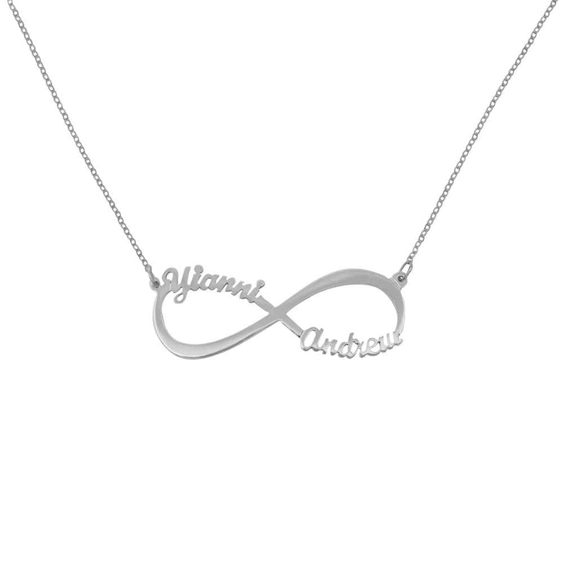 "Ari&Lia Monogram & Trendy Sterling Silver 1.5"" Script Infinity Couple Name Necklace NP30565-SS"