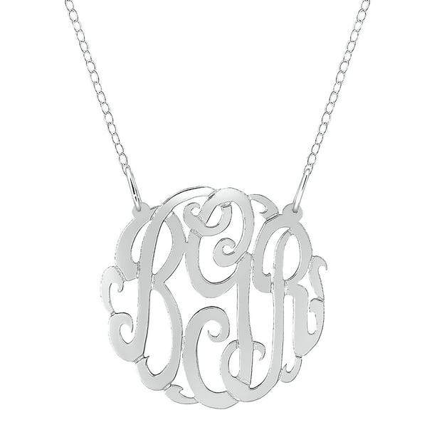 "Ari&Lia Monogram & Trendy Sterling Silver 1.5"" Three Letter Script Monogram Necklace ZC90832L-A-SS"
