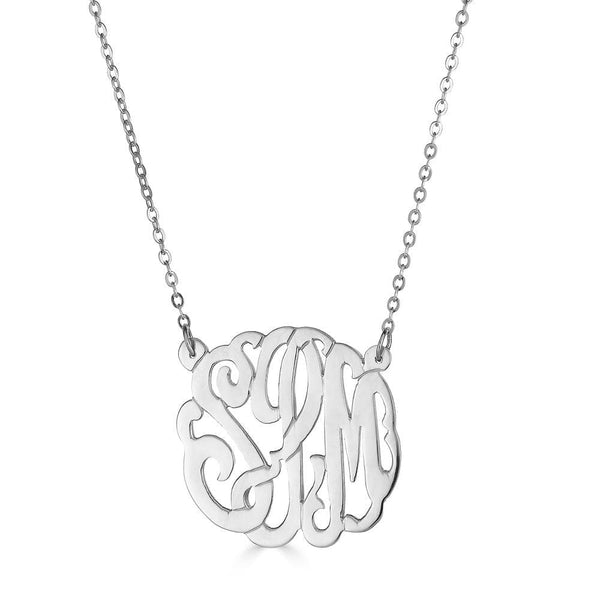"Ari&Lia Monogram & Trendy Sterling Silver 1"" Three Letter Script Monogram Necklace ZC90834L-A-SS"