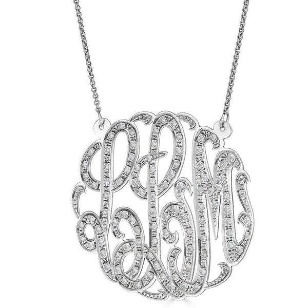 "Ari&Lia Monogram & Trendy Sterling Silver 2"" Three Letter Script Monogram Necklace With 1.25 Ct Diamonds ZC90831L-A-SS"