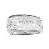 Ari&Lia Name Rings Sterling Silver Script Name Ring With Diamond Accent NR90623-SS