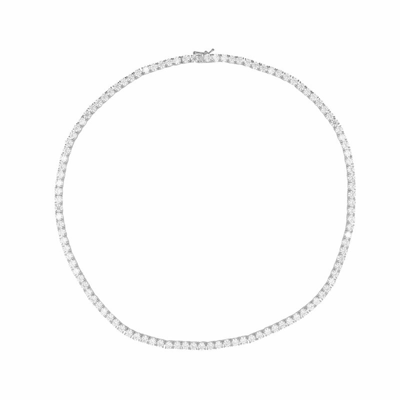 Ari&Lia PAPERCLIP COLLECTION Sterling Silver Tennis Necklace with Cubic Zirconia 9013-GPSS