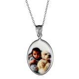 Ari&Lia Picture Pendants Sterling Silver Oval Mother Of Pearl Picture Pendant C91110-SS