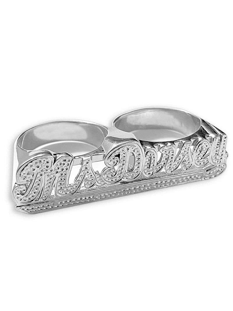Ari&Lia RING Sterling Silver Two Finger Name Ring