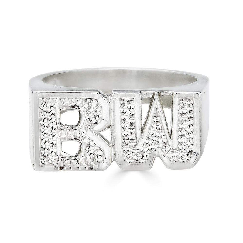 Ari&Lia Rings Sterling Silver Initial Name Ring With Diamond Accent NR90625-SS