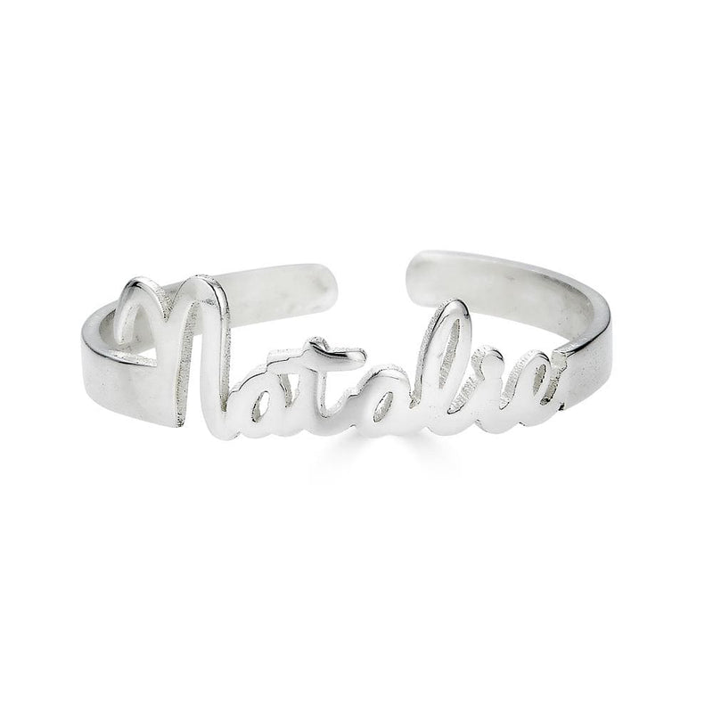 Ari&Lia Rings Sterling Silver Mini Script Name Ring With Open Back NR91689-SS