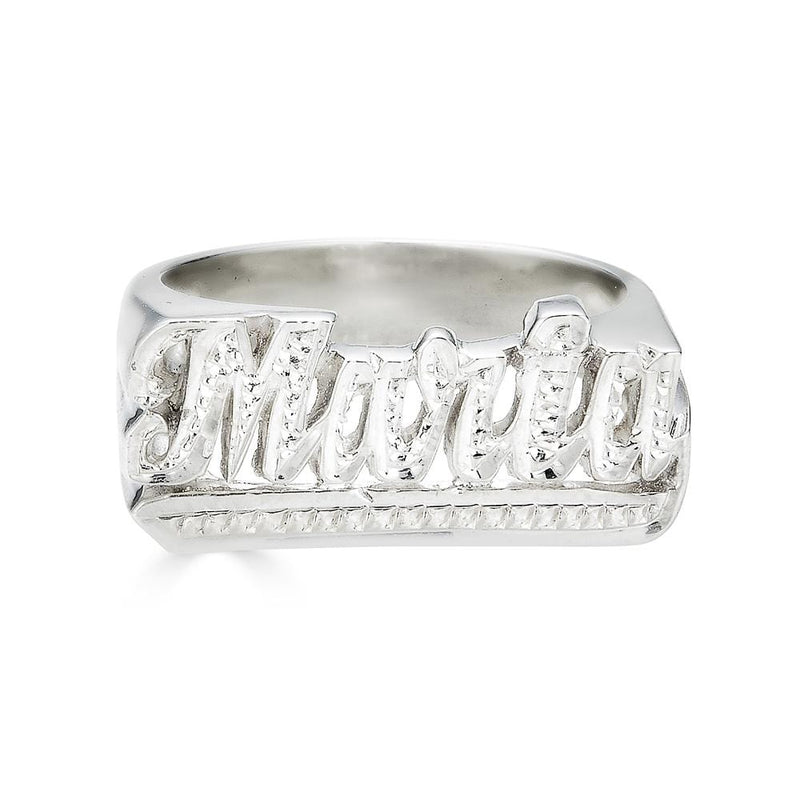 Ari&Lia Rings Sterling Silver Script Name Ring with Diamond Accent NR90622-SS