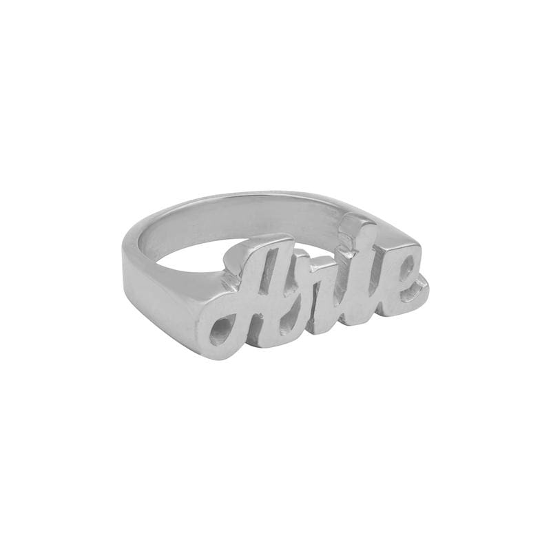 Ari&Lia Rings Sterling Silver Womens Block Name Ring NR90580-SS