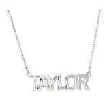 Ari&Lia Single Sterling Silver Single Block Name Necklace With Diamond Cut NP90581-SS