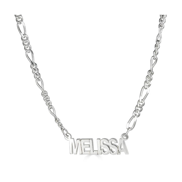 Ari&Lia Single Sterling Silver Single Block Name Necklace with Figaro Chain NP5-SS