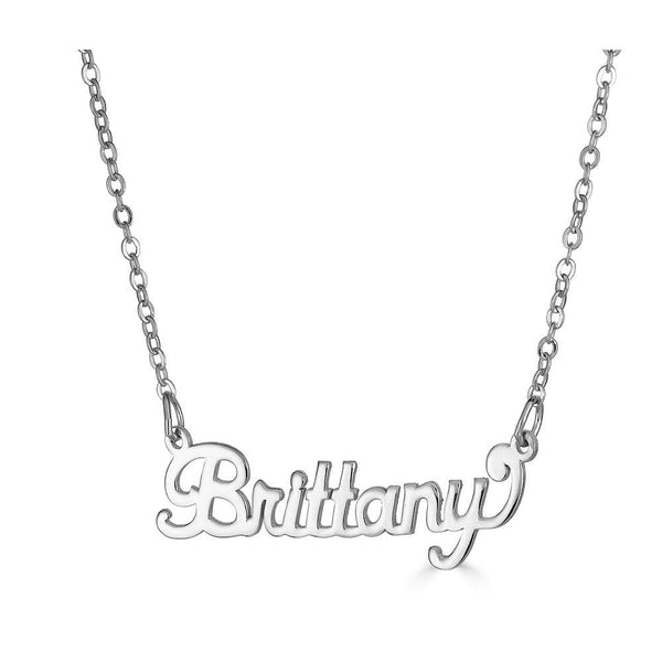 Ari&Lia Single Sterling Silver Single Script High Polish Name Necklace NP90580-SS