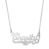 Ari&Lia Single Sterling Silver Single Script Name Necklace with Flower Design NP90582-SS