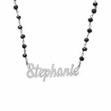 Ari&Lia Single Sterling Silver Single Script Name Necklace With Onyx Chain