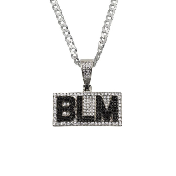 Ari&Lia Single & Trendy Sterling Silver BLM Pendant With Curb Chain. 2.5 Cubic Zirconia BLM-SS