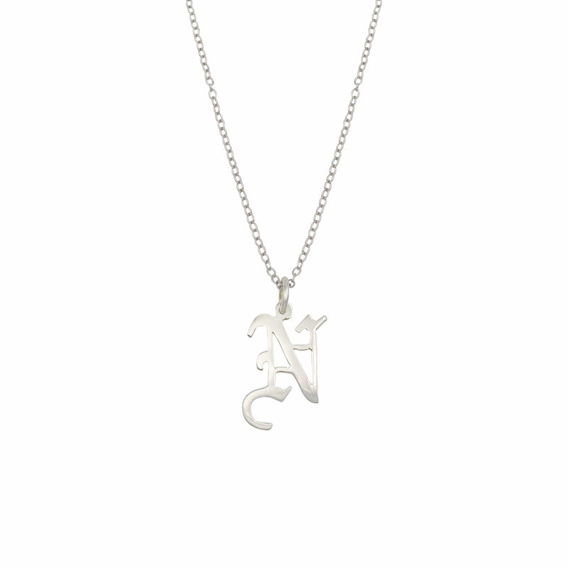 Ari&Lia Single & Trendy Sterling Silver Gothic Initial Necklace