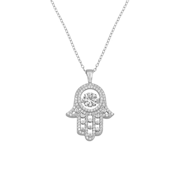 Ari&Lia Single & Trendy Sterling Silver Hamsa Pendant With Cubic Zirconia 11023-SS